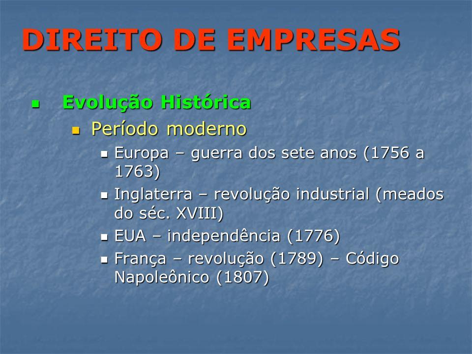 DIREITO DE EMPRESAS Evolução Histórica Período moderno