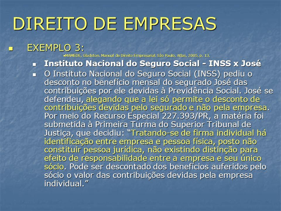 DIREITO DE EMPRESAS EXEMPLO 3: