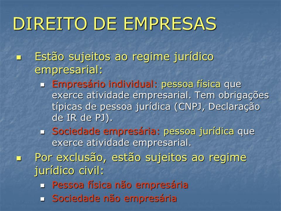DIREITO DE EMPRESAS Estão sujeitos ao regime jurídico empresarial: