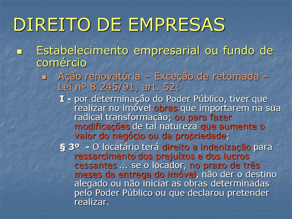 DIREITO DE EMPRESAS Estabelecimento empresarial ou fundo de comércio