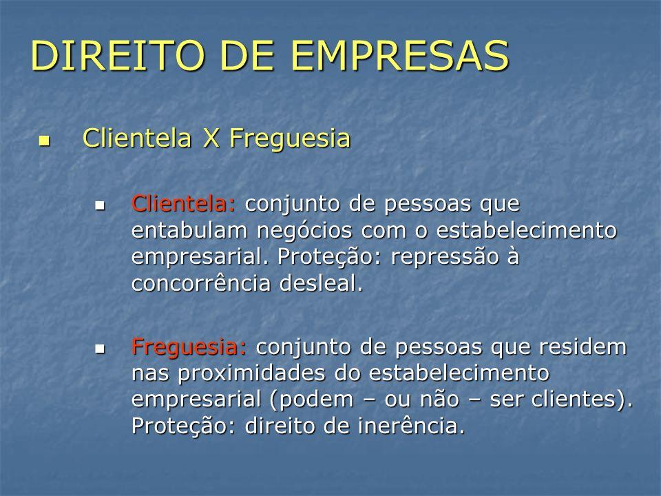 DIREITO DE EMPRESAS Clientela X Freguesia