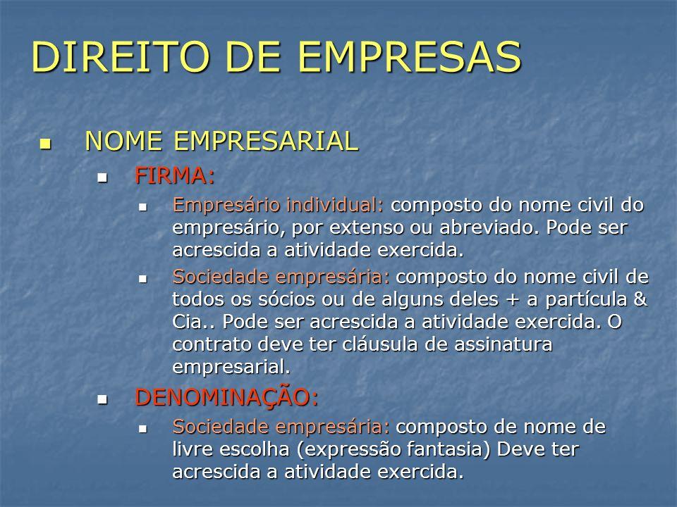 DIREITO DE EMPRESAS NOME EMPRESARIAL FIRMA: DENOMINAÇÃO: