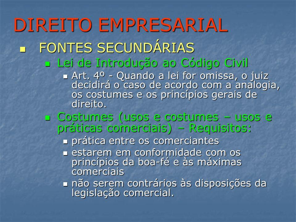 DIREITO EMPRESARIAL FONTES SECUNDÁRIAS