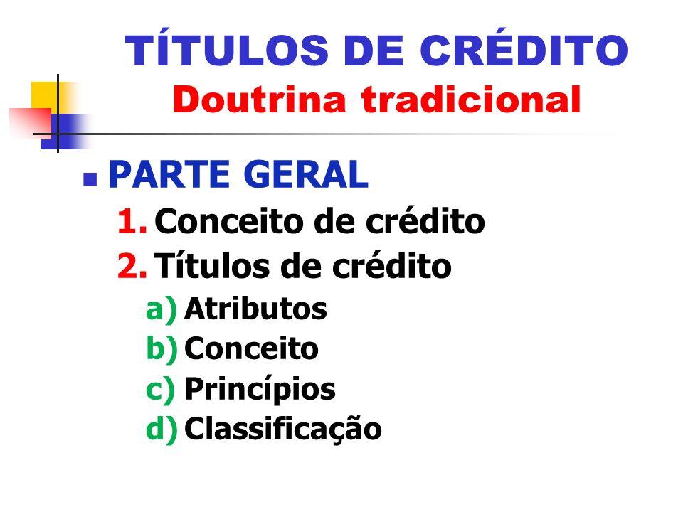 TÍTULOS DE CRÉDITO Doutrina tradicional