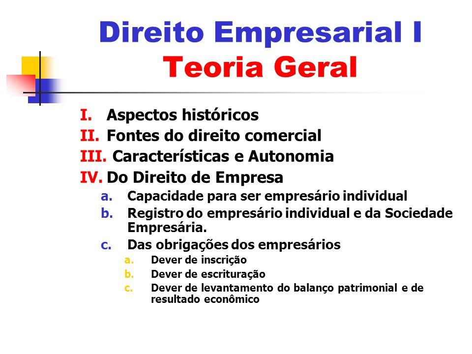 Direito Empresarial I Teoria Geral