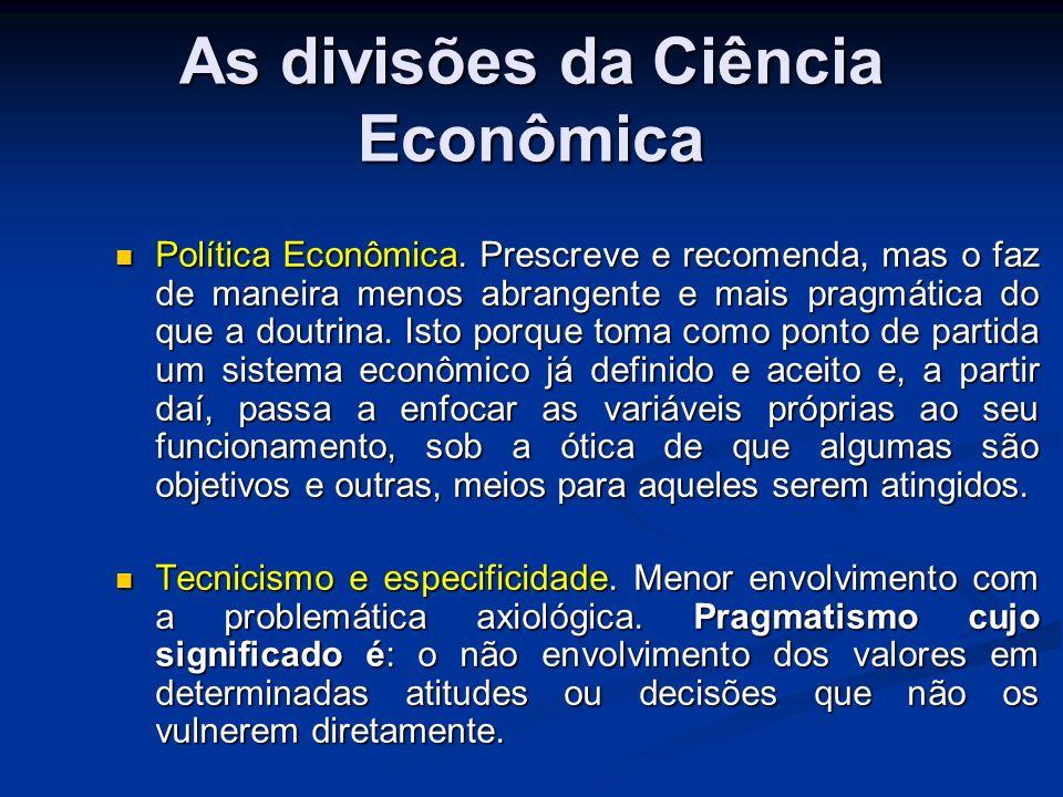 As divisões da Ciência Econômica