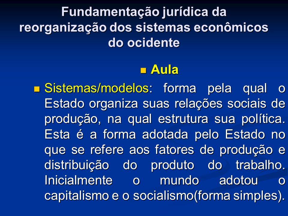 Fundamentação jurídica da reorganização dos sistemas econômicos do ocidente