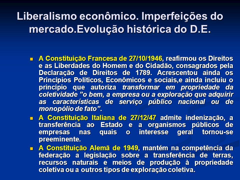 Liberalismo econômico. Imperfeições do mercado.Evolução histórica do D.E.
