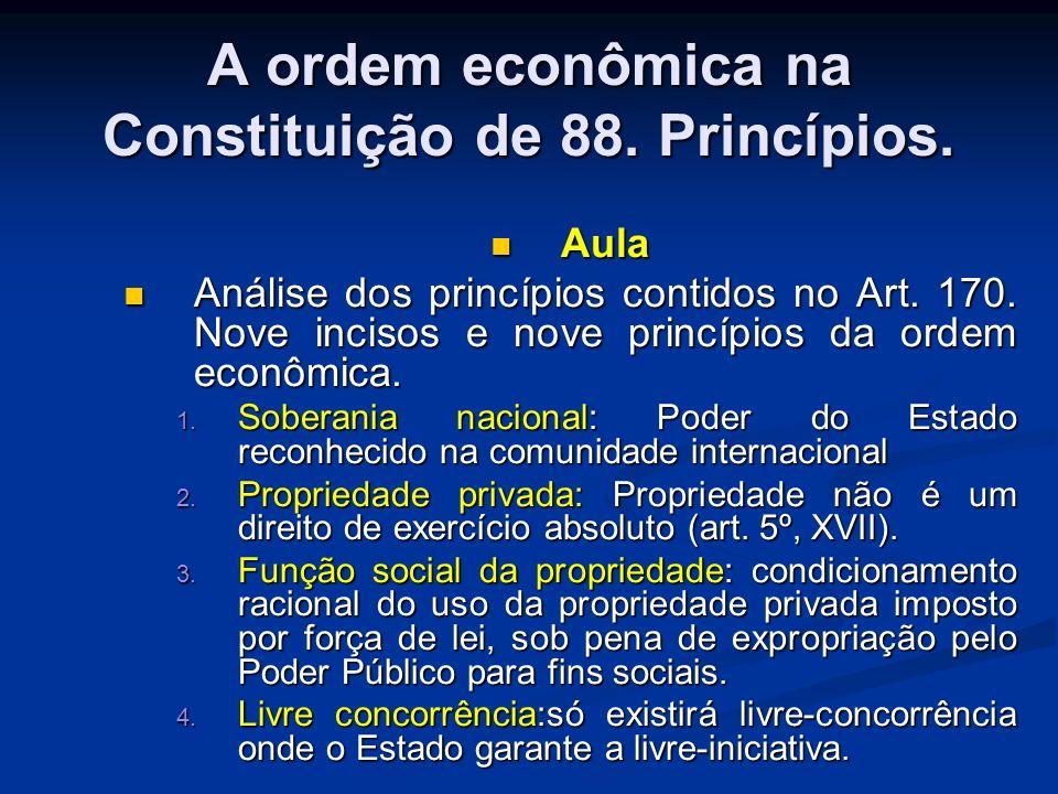A ordem econômica na Constituição de 88. Princípios.