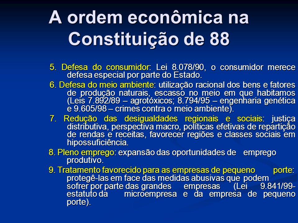 A ordem econômica na Constituição de 88