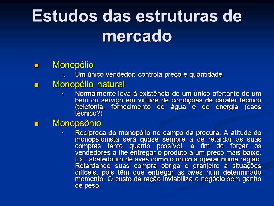 Estudos das estruturas de mercado