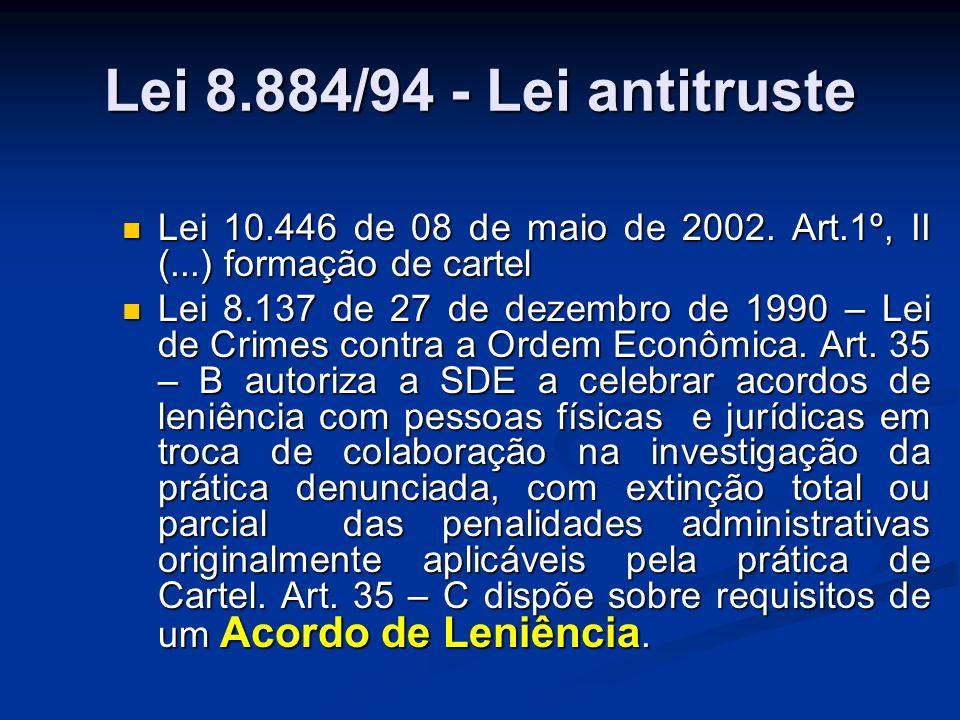 Lei 8.884/94 - Lei antitruste Lei 10.446 de 08 de maio de 2002. Art.1º, II (...) formação de cartel.