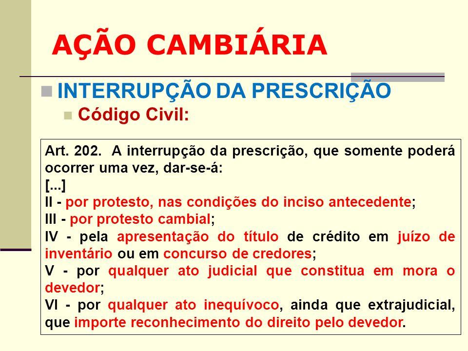 AÇÃO CAMBIÁRIA INTERRUPÇÃO DA PRESCRIÇÃO Código Civil: