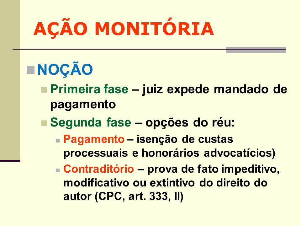 AÇÃO MONITÓRIA NOÇÃO Primeira fase – juiz expede mandado de pagamento
