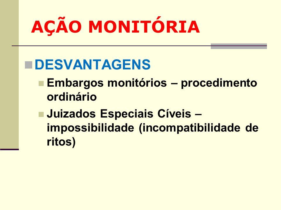AÇÃO MONITÓRIA DESVANTAGENS