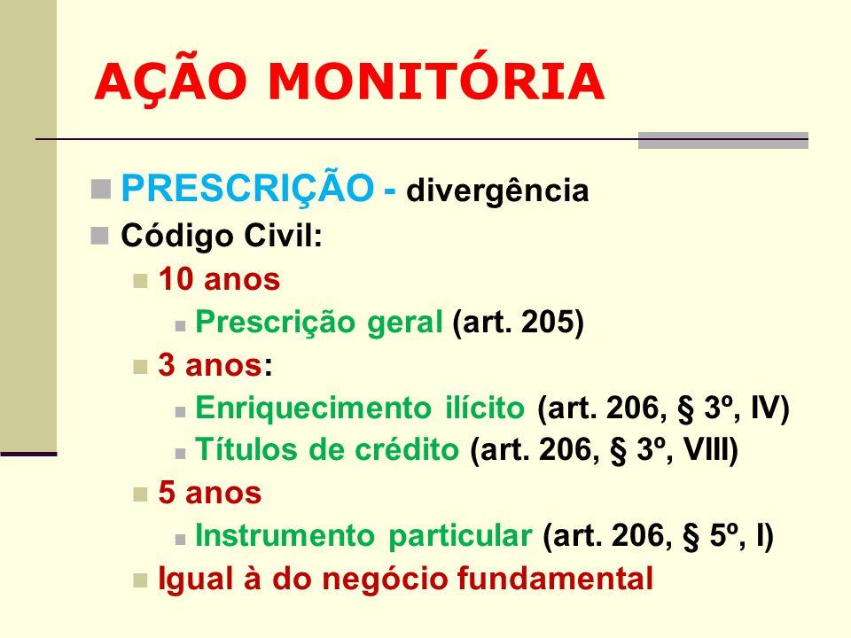 AÇÃO MONITÓRIA PRESCRIÇÃO - divergência Código Civil: 10 anos 3 anos: