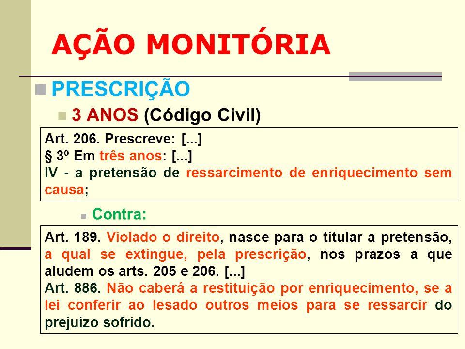 AÇÃO MONITÓRIA PRESCRIÇÃO 3 ANOS (Código Civil) Contra: