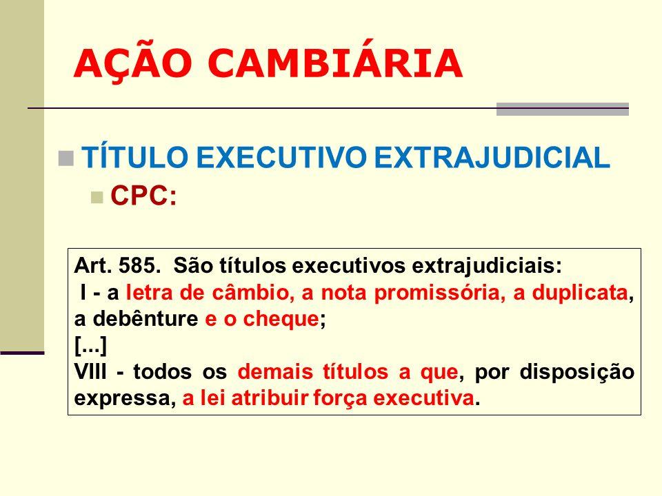 AÇÃO CAMBIÁRIA TÍTULO EXECUTIVO EXTRAJUDICIAL CPC: