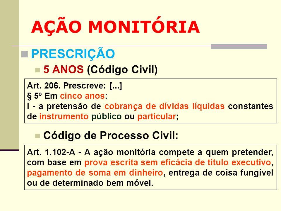 AÇÃO MONITÓRIA PRESCRIÇÃO 5 ANOS (Código Civil)