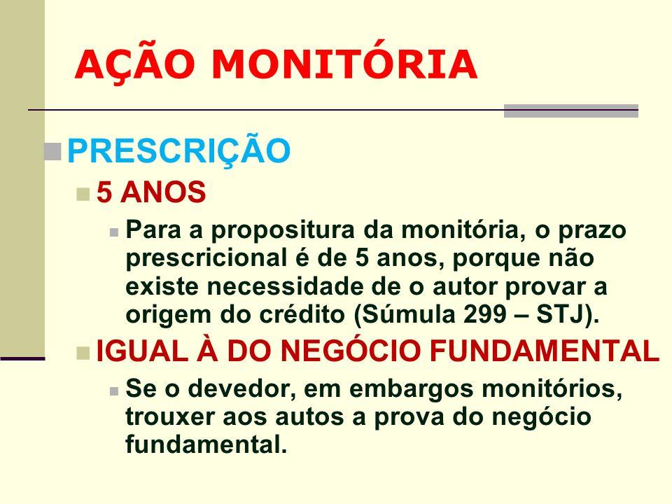 AÇÃO MONITÓRIA PRESCRIÇÃO 5 ANOS IGUAL À DO NEGÓCIO FUNDAMENTAL