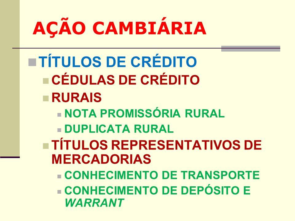 AÇÃO CAMBIÁRIA TÍTULOS DE CRÉDITO CÉDULAS DE CRÉDITO RURAIS