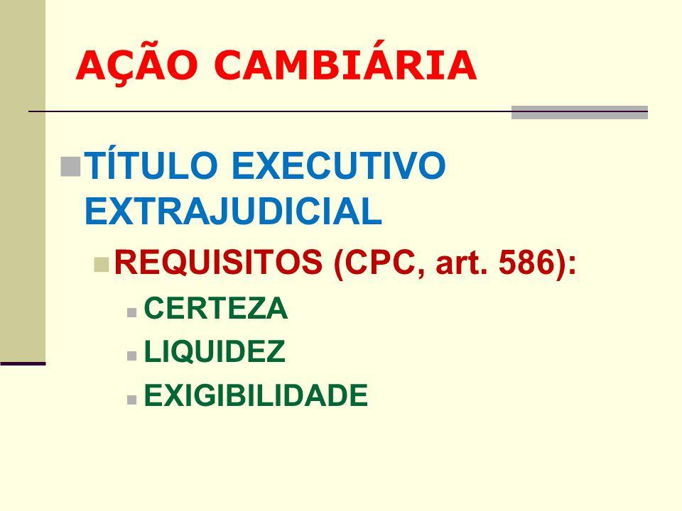 AÇÃO CAMBIÁRIA TÍTULO EXECUTIVO EXTRAJUDICIAL