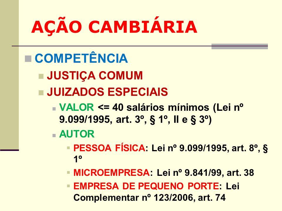 AÇÃO CAMBIÁRIA COMPETÊNCIA JUSTIÇA COMUM JUIZADOS ESPECIAIS
