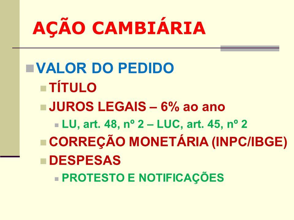 AÇÃO CAMBIÁRIA VALOR DO PEDIDO TÍTULO JUROS LEGAIS – 6% ao ano