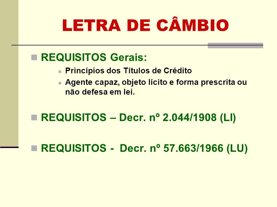 LETRA DE CÂMBIO REQUISITOS Gerais: