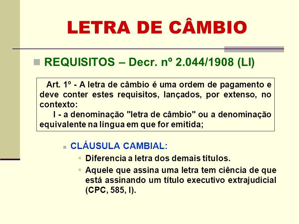LETRA DE CÂMBIO REQUISITOS – Decr. nº 2.044/1908 (LI)