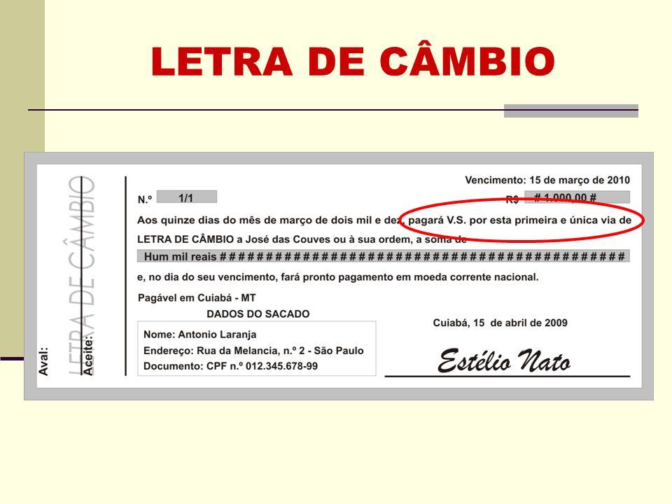 LETRA DE CÂMBIO Clique para adicionar texto
