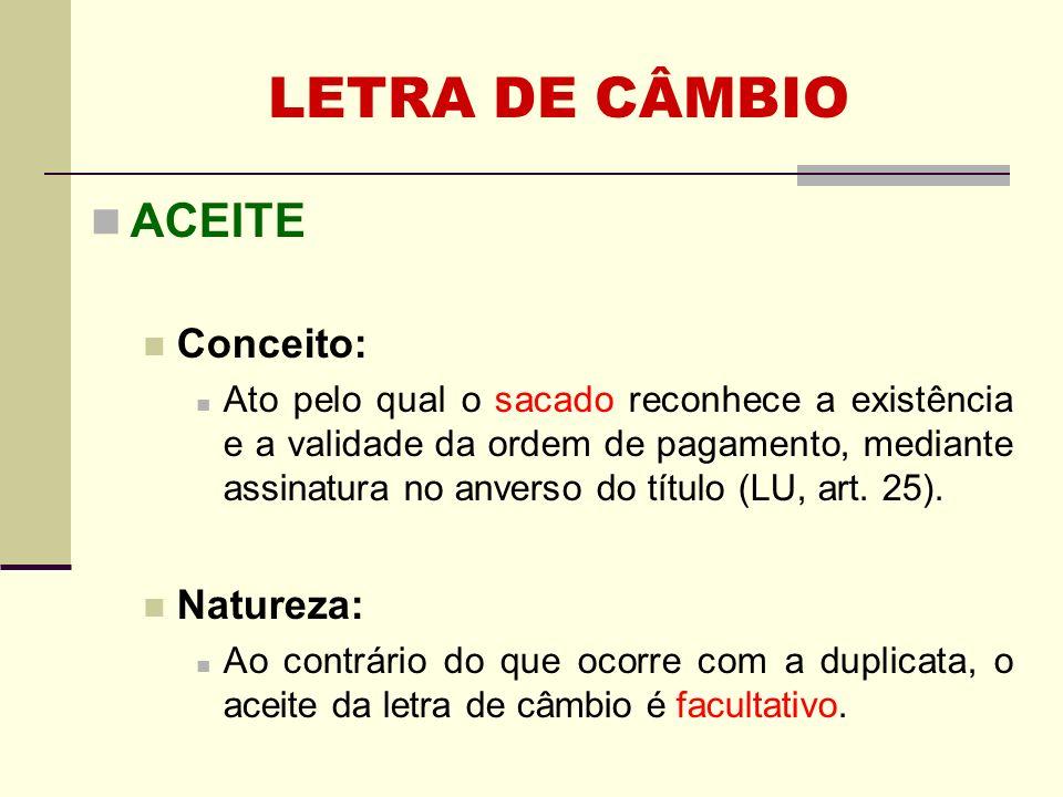 LETRA DE CÂMBIO ACEITE Conceito: Natureza: