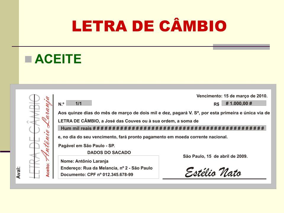 LETRA DE CÂMBIO ACEITE Clique para adicionar texto 40