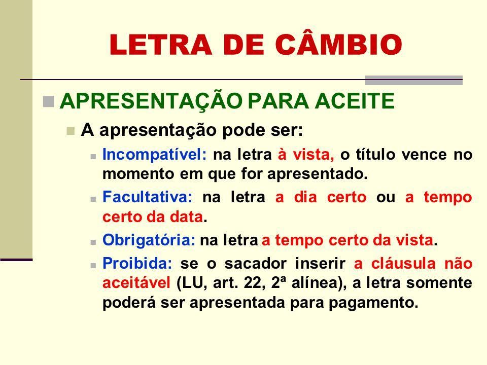 LETRA DE CÂMBIO APRESENTAÇÃO PARA ACEITE A apresentação pode ser: