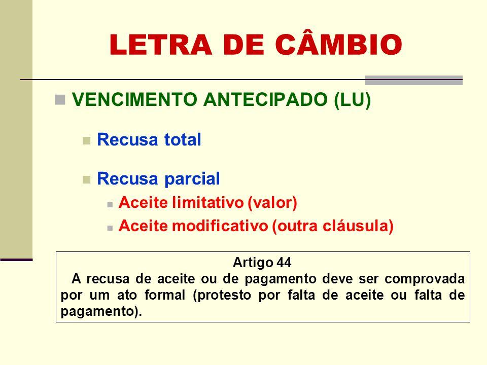 LETRA DE CÂMBIO VENCIMENTO ANTECIPADO (LU) Recusa total Recusa parcial