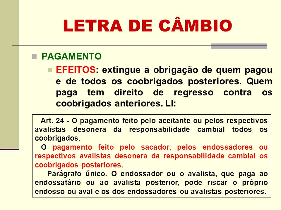 LETRA DE CÂMBIO PAGAMENTO
