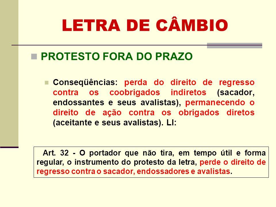LETRA DE CÂMBIO PROTESTO FORA DO PRAZO