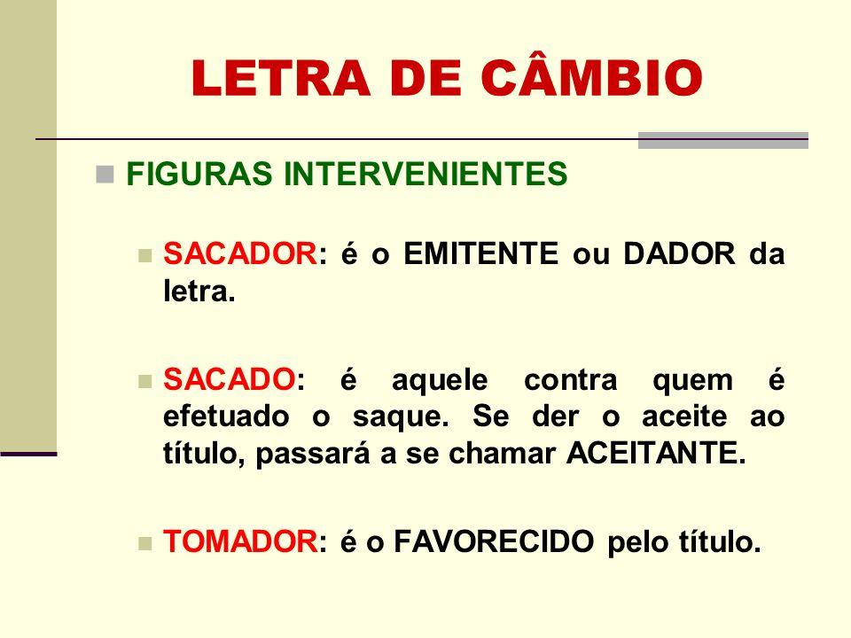 LETRA DE CÂMBIO FIGURAS INTERVENIENTES