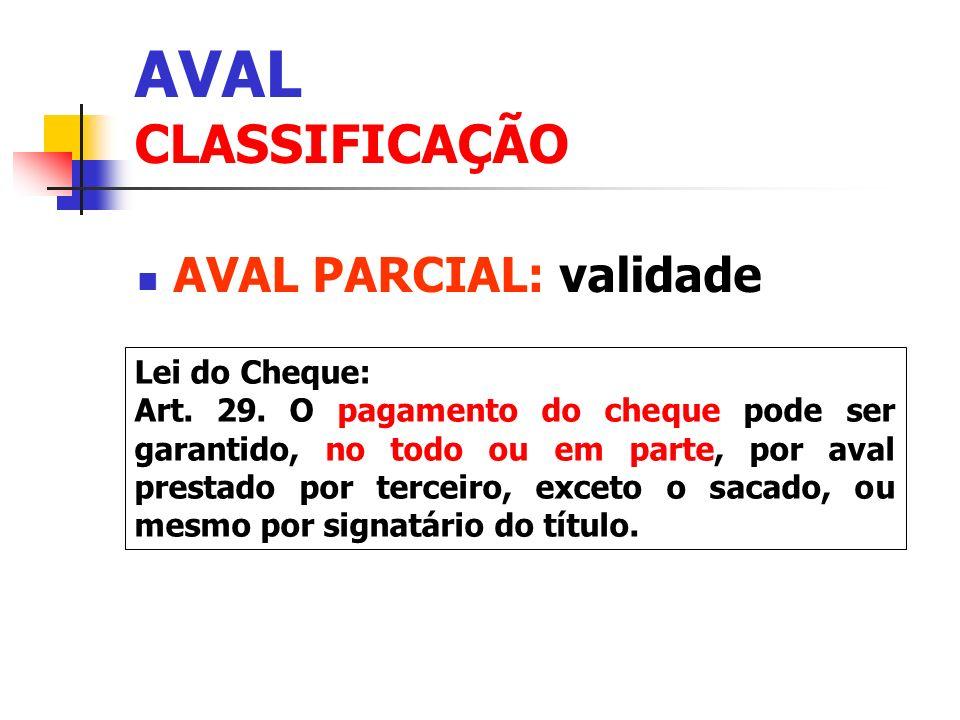 AVAL CLASSIFICAÇÃO AVAL PARCIAL: validade Lei do Cheque: