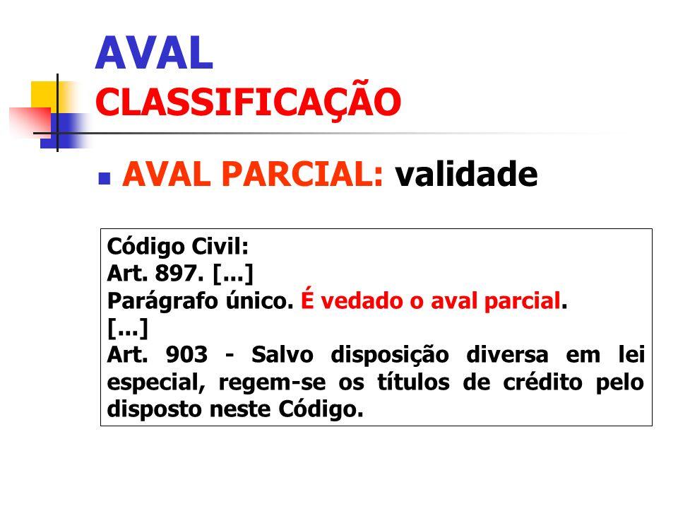AVAL CLASSIFICAÇÃO AVAL PARCIAL: validade Código Civil: