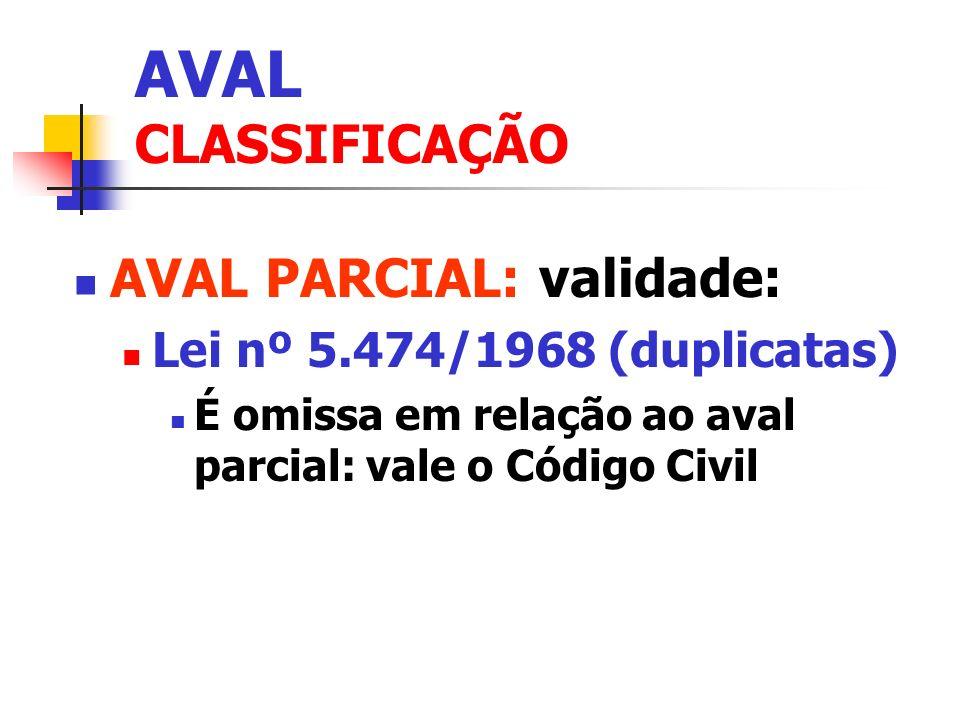 AVAL CLASSIFICAÇÃO AVAL PARCIAL: validade: