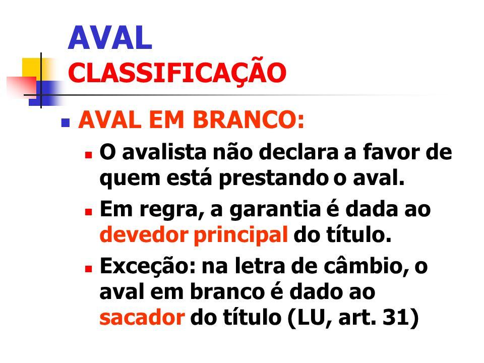 AVAL CLASSIFICAÇÃO AVAL EM BRANCO: