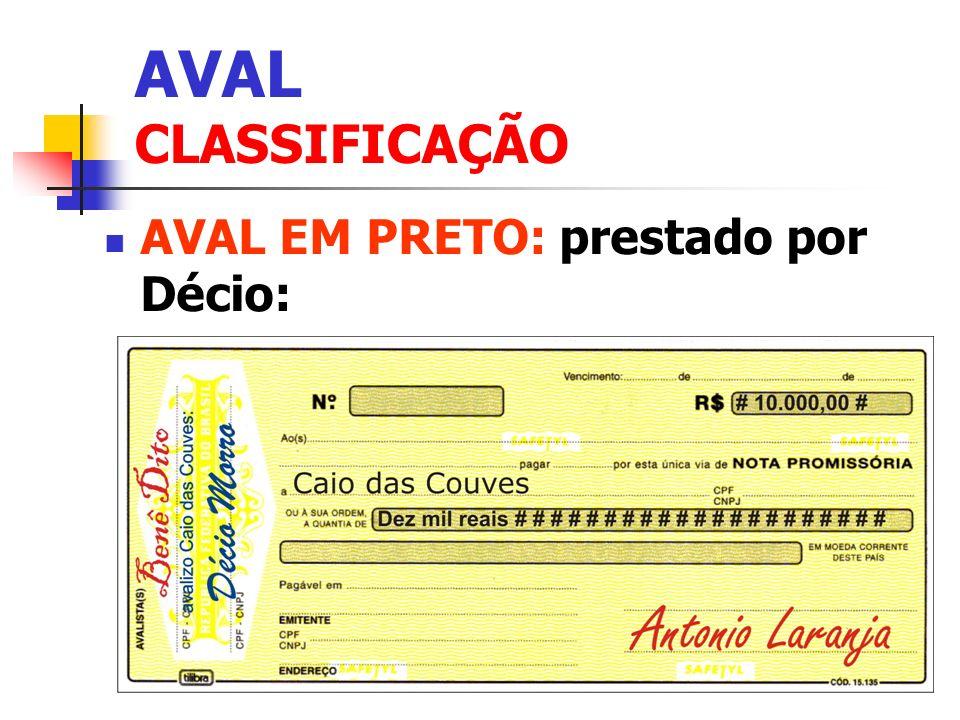 AVAL CLASSIFICAÇÃO AVAL EM PRETO: prestado por Décio: