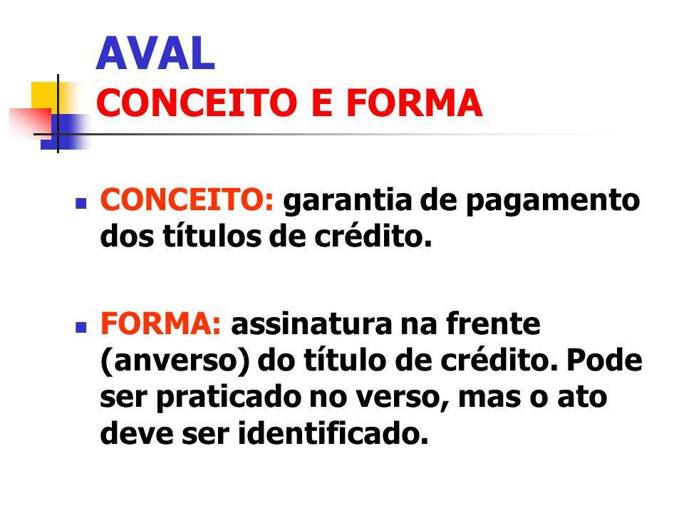 AVAL CONCEITO E FORMA CONCEITO: garantia de pagamento dos títulos de crédito.