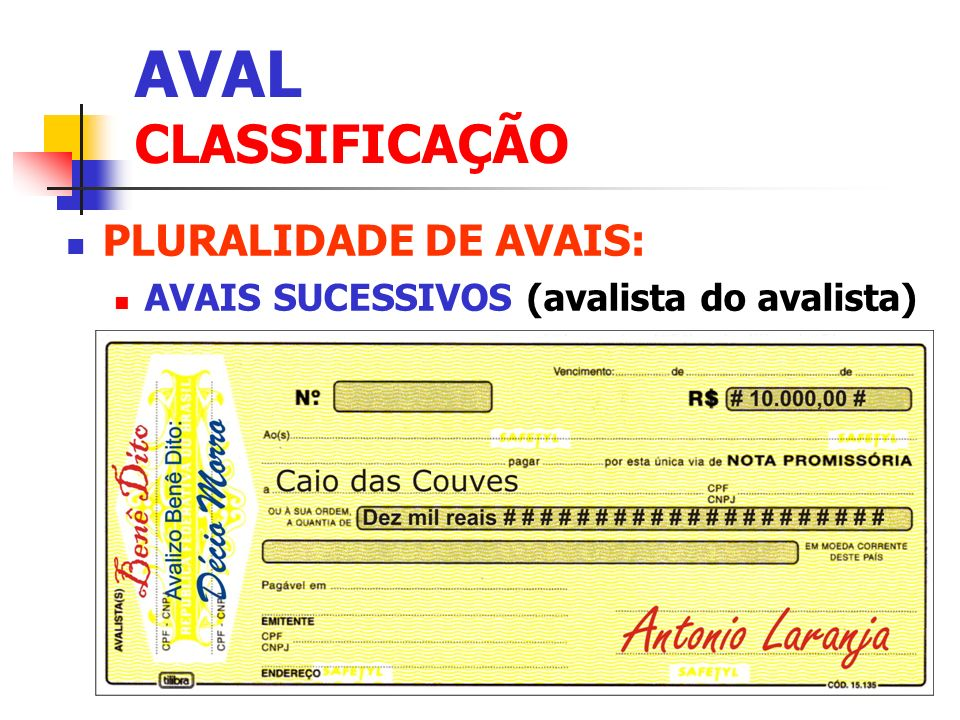 AVAL CLASSIFICAÇÃO PLURALIDADE DE AVAIS: