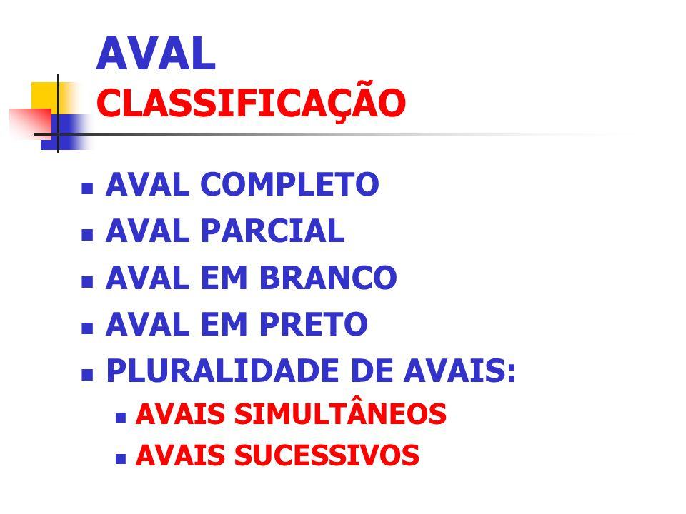 AVAL CLASSIFICAÇÃO AVAL COMPLETO AVAL PARCIAL AVAL EM BRANCO