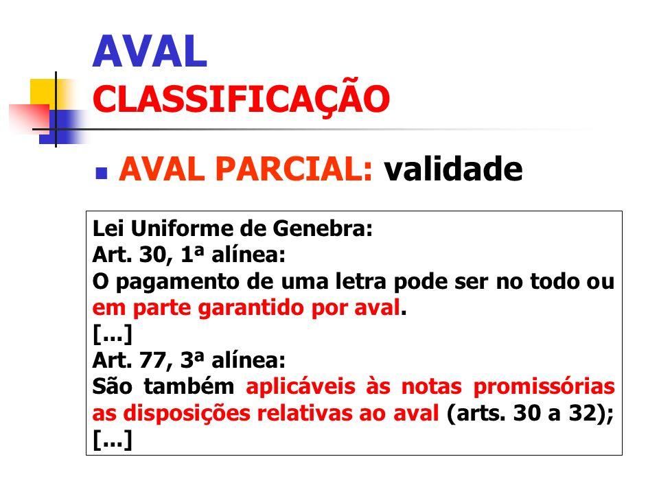 AVAL CLASSIFICAÇÃO AVAL PARCIAL: validade Lei Uniforme de Genebra: