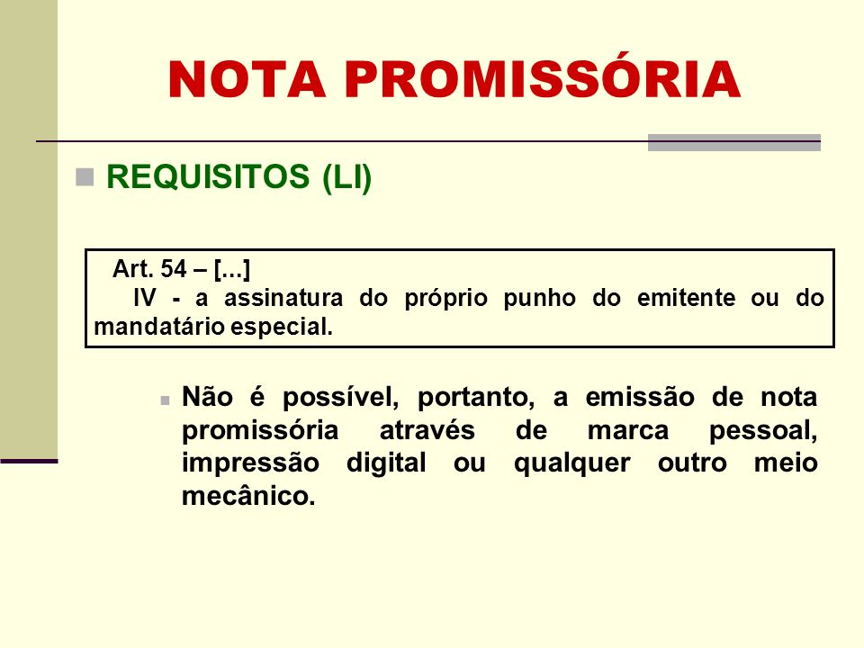 NOTA PROMISSÓRIA REQUISITOS (LI)