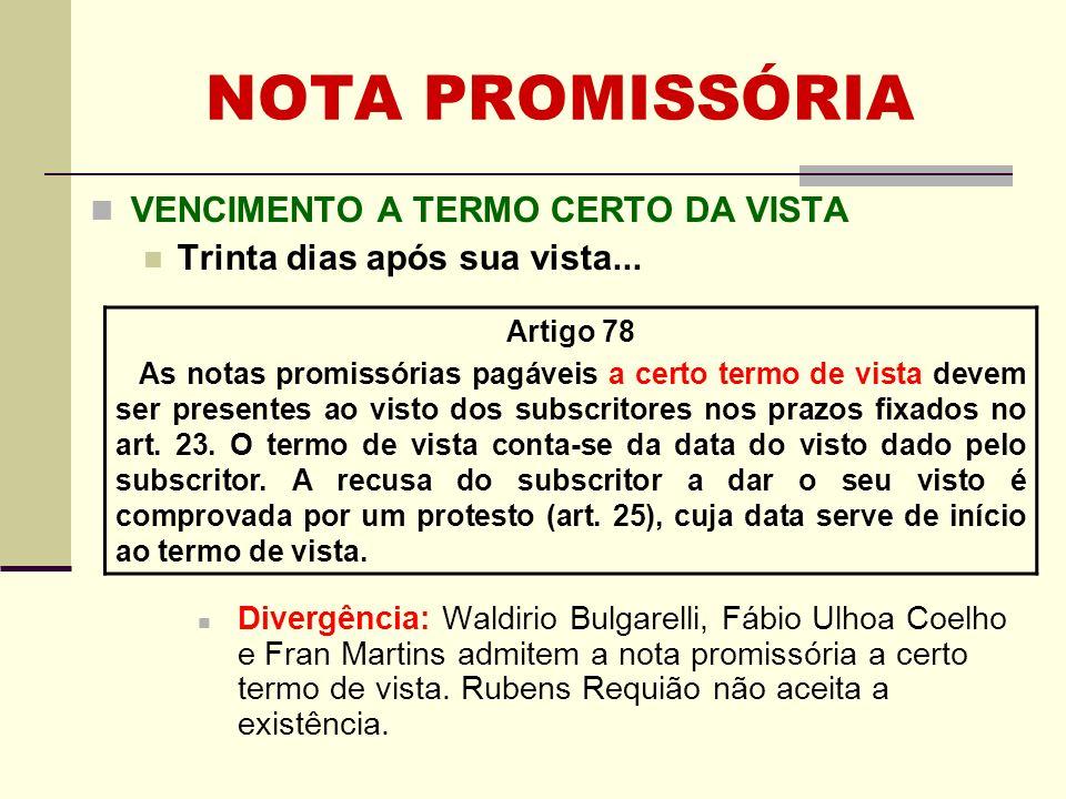 NOTA PROMISSÓRIA VENCIMENTO A TERMO CERTO DA VISTA