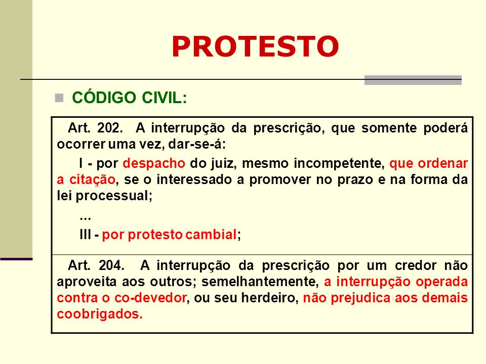 PROTESTO CÓDIGO CIVIL: